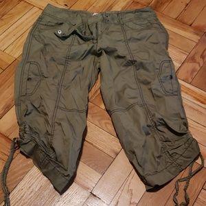 Olive Green Cargo Capri Pants